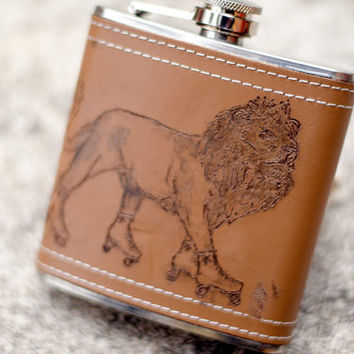 Genuine Leather Burned Lion with Roller Skates Liquid Courage Flask