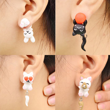 19 Handmade Polymer Clay Piranha Dog Cat Rabbit Stud Earrings For Women Fashion Animal brincos Piercing Earrings Jewelry bijoux
