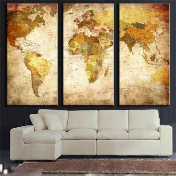 Framed 3 Panel Vintage World Map Canvas Painting Print  oil painting on Canvas Home Decor Wall Art Print Painting picture PT0543