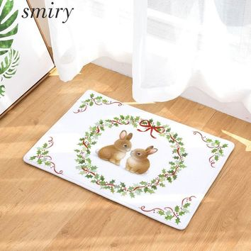 Autumn Fall welcome door mat doormat Smiry Merry Christmas 40*60cm Flannel  Animal Lovely Rabbit Deer Plants Heart Wreath Flowers Carpet Red Wine Cakes Rugs AT_76_7