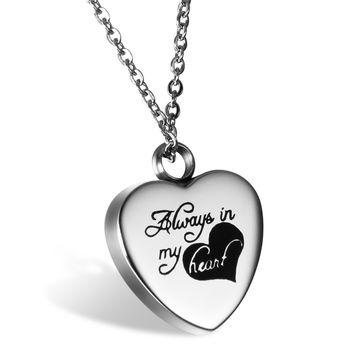 "BONISKISS "" Always in My Heart "" Cremation Urn Stainless Steel Necklace Pendant Locket Memorial Keepsake"