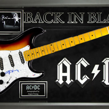 AC/DC Angus Young Signed Guitar - Back in Black Themed in Framed Case PSA/DNA