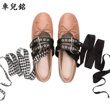 Woman spring autumn PU Leather Flats comfortable lace up ribbons shoes Casual ballet S