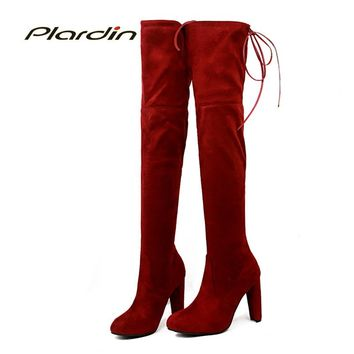 plardin 2018 Winter Women Fashion Leisure Zip Butterfly-knot Lace-Up Pointed Toe riding Shoes Woman over the knee Boots Suede