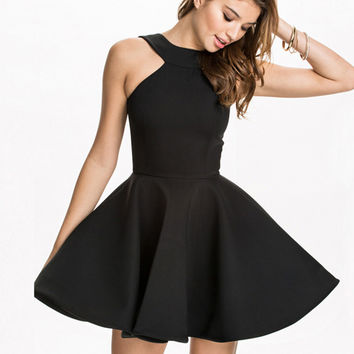 Fabulous Halter Neck Little Black Dress. Black Full Dress Party Dress