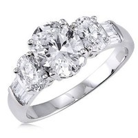 BERRICLE Sterling Silver Oval Cut Cubic Zirconia CZ 3 Stone Womens Engagement Wedding Ring
