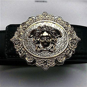 New Versace Medusa Black Leather Men's Belt !Black Belt