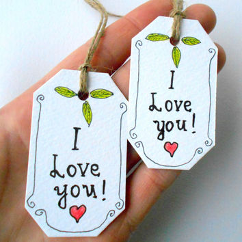 Personalized Hang tags I love you set , Set of handmade cardstock gift tags with natural linen thread or satin ribbons hang strips