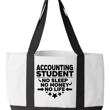 Accounting Student Tote Bag No Sleep No Money No Life Funny College Major Accountant Degree Bookbag Accounting
