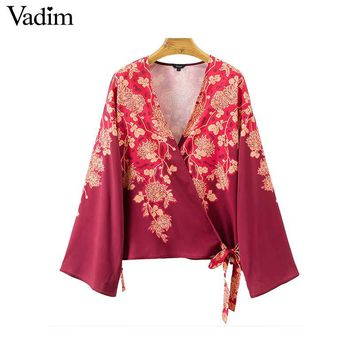 Crossover V Neck Floral Pattern Wrap Shirts Bow Tie Long Sleeve Blouse Vintage Ladies Casual Tops