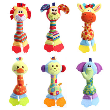 Baby Toys Rattles Soft Comfort Plush Toy Animals Handbells Teether Dog Giraffe Lion Elephant Monkey Newborn Toys for Kids
