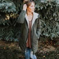 Olive Hooded Puffy Coat