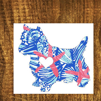 LILLY PULITZER Yorkie Heart Decal | Yorkie Mom Decal | Yorkie Dog Decal | Dog Dad Decal | Dog Family Decal | Love Sticker | Love Decal | 200