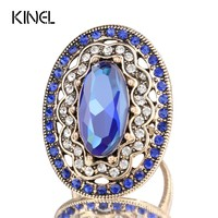 2017 New Charm Blue Big Ring Color Ancient Gold Vintage Wedding Rings For Women Mosaic White Crystal Fashion Jewelry