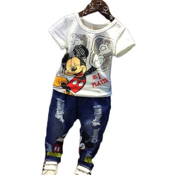 8984655e7f3 Cartoon children clothing sets Mickey mouse tracksuits Kids baby