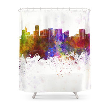 Society6 Portland Skyline In Watercolor Background Shower Curtains