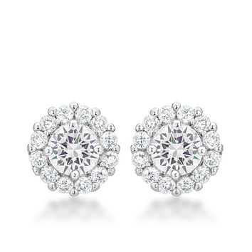 Belle Clear Round Halo Stud Earrings