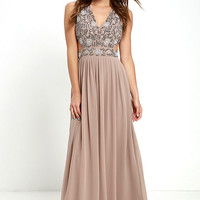 TFNC Lace & Beads Vera Taupe Beaded Maxi Dress