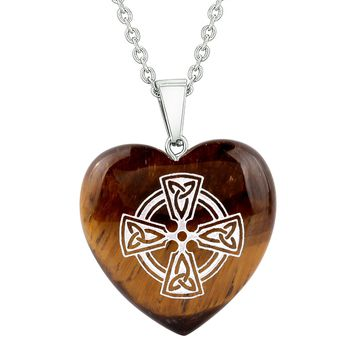 Amulet Viking Celtic Cross Circle Powers Protection Energy Tiger Eye Puffy Heart Pendant Necklace