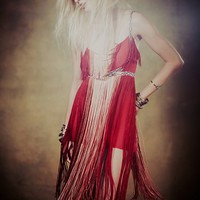 Free People Womens Flapping My Fringe Dress - Red, 2