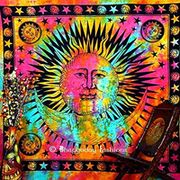 Indian Handmade Sun & Moon Tapestry Throw ,Hippie Hippy Wall Hanging Vintage Cotton Bedspread,Sun & Moon Wall Tapestry Decor, Mandala Tapestries,Decorative Cotton Table Cloth Decor Art 86x94 Inch.