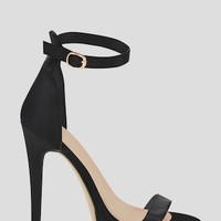 Black Satin Single Strap Platform Heels