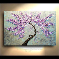 COMMISSION Purple Pink Aqua Blue metallic Gold Flower Tree painting on canvas thick impasto texture ready to hang wall decor By OTO