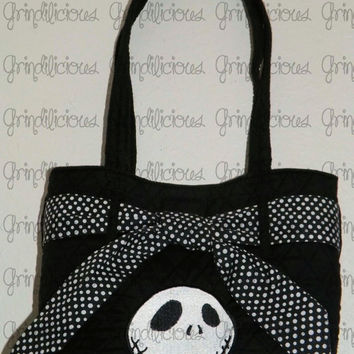 Jack Skellington Nightmare Before Christmas Embroidered Quilted Bag Purse