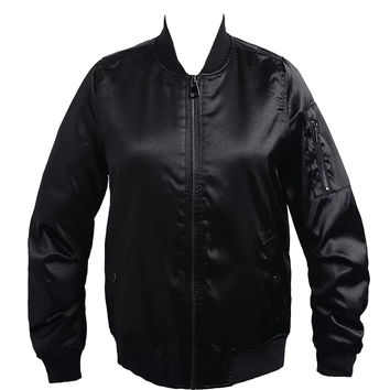 Black Quilted Lining Satin Bomber Jacket