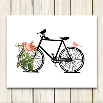 Two Birds On A Bike Digital Print, Home Decor Wall Art, Instant Download, Transfers to Fabric & Paper Printable Image