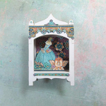 Miniature Toy Theater Vignette with Lady in Teal