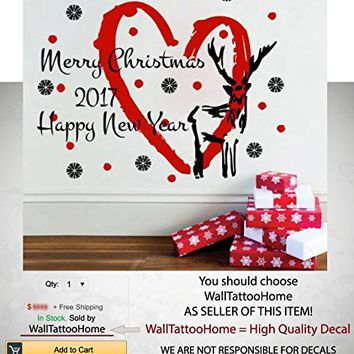 """Merry Christmas Wall Stickers Decal Snowflakes Deer Star Decoration Vinyl Decals Nursery Kids Room Decal Bedroom Living Home Decor MS775 (18"""" x 23"""")"""