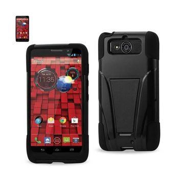Reiko REIKO MOTOROLA DROID MINI HYBRID HEAVY DUTY CASE WITH KICKSTAND IN BLACK