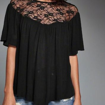 Black Patchwork Lace Hollow-out Draped Tie Back Fashion Blouse