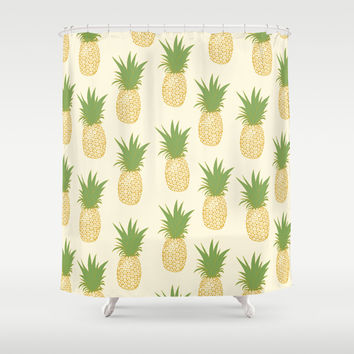 Pineapple Gold Shower Curtain by The Wallpaper Files
