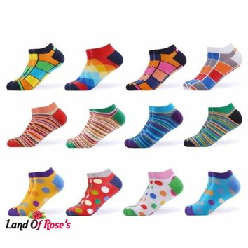 12 Pairs/Lot Men's Colorful  Ankle Socks Happy Combed Cotton Short Socks SIZE 9-12