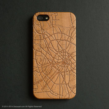Real wood engraved map pattern iPhone case S019