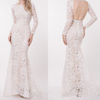 Fashion Hollow Lace Backless Dress