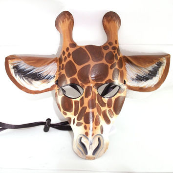 Leather Giraffe Mask, Handmade and Hand Painted