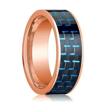 Men's 14k Rose Gold Flat Wedding Band for Men with Black and Blue Carbon Fiber Inlay - 8MM