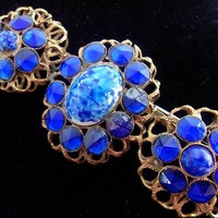 Cobalt Blue & Art Glass Brooch, STERLING BUTTON CO N.Y., Art Nouveau, Gilt, Vintage