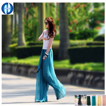 2014 fashionable casual loose plus size high waist culottes chiffon skorts wide leg pants long trousers FREE SHIPPING