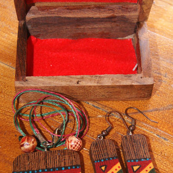Special wooden necklace and earring, wooden jewelry from wenge tree, wooden jewelry from the Middle Eastern designs, handemade, authentic