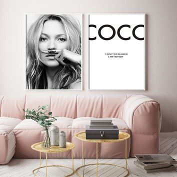 Black Woman Portrait COCO Nordic Decoratio Wall Art Canvas Poster and Print Animal Canvas Painting Picture for Living Room Decor