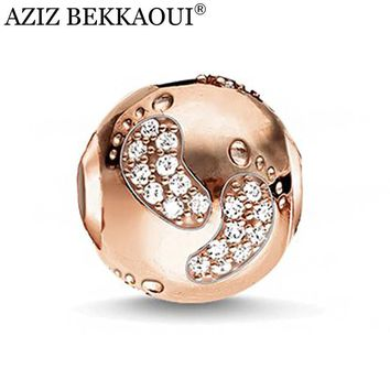 AZIZ Rose gold color big hole diy charms crystal cute baby foot beads fit european pandora bracelet necklace women jewelry