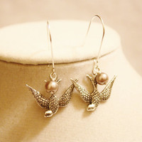 Silver Sparrow Bird and Pearl Earrings