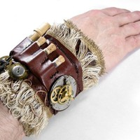 Steampunk Cuff Industrial Mens Leather Wrist Cuff  VIALS Pocket Watch Vintage Gears LOADED, MUST See - Steampunk Clothing by edmdesigns