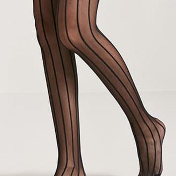 Stripe Semi-Sheer Tights