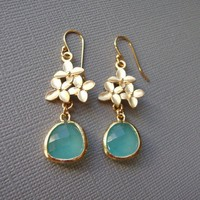 Cherry Blossom and Aqua Blue Earrings by DesignsbyJocelyn on Etsy
