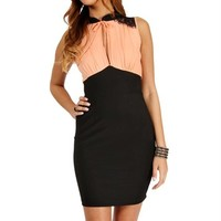 Peach/Black Lace Color block Dress